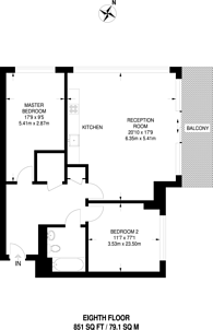Large floorplan for Whitby House, Canary Wharf, E14