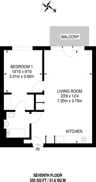 Large floorplan for London City Island, Canning Town, E14