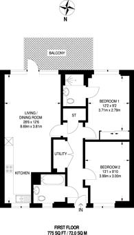 Large floorplan for Aberfeldy Village, Docklands, E14