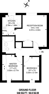 Large floorplan for Sherfield Close, New Malden, KT3