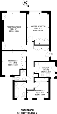 Large floorplan for Maitland Court, Lancaster Gate, W2