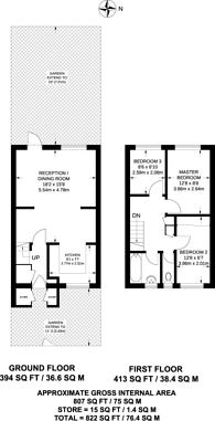 Large floorplan for Lewesdon Close, Wimbledon, SW19
