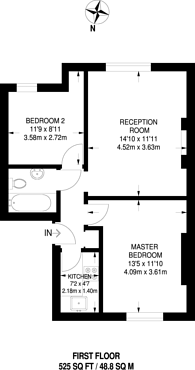 Large floorplan for Grosvenor Gardens, Willesden, NW2
