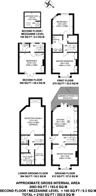 Large floorplan for Deodar Road, Putney, SW15