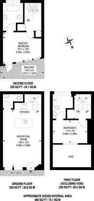 Large floorplan for Mossbury Road, Clapham Junction, SW11