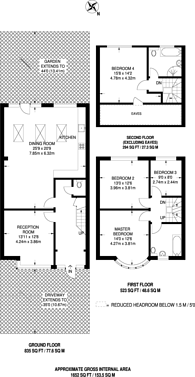 Large floorplan for Norbury Crescent, Norbury, SW16