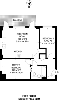 Large floorplan for Pullman House, Bermondsey, SE16