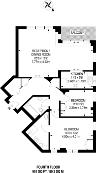 Large floorplan for Chelsea Harbour, Lots Road, SW10