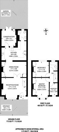 Large floorplan for Woodland Way, Mitcham, CR4