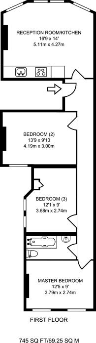 Large floorplan for Grand Parade, Finsbury Park, N4