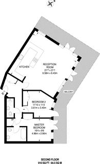 Large floorplan for Western Beach Apartments, Royal Docks, E16