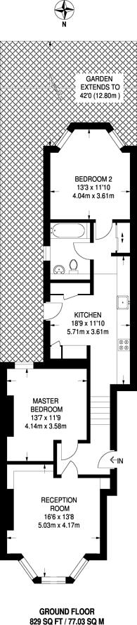 Large floorplan for Queens Road, New Cross, SE14