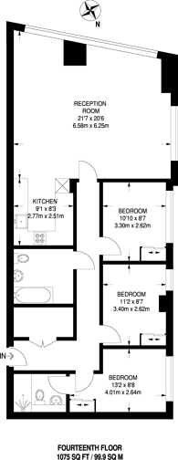 Large floorplan for Lincoln Plaza, Canary Wharf, E14