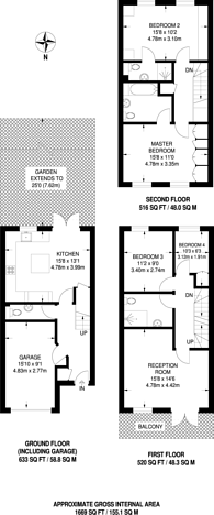 Large floorplan for Moore Way, Sutton, SM2