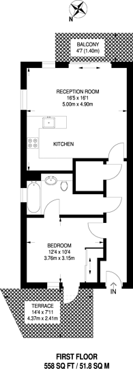 Large floorplan for Lamb Walk, Southwark, SE1