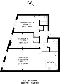 Large floorplan for St Johns Road, Between the Commons, SW11
