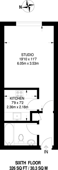 Large floorplan for Point West, South Kensington, SW7