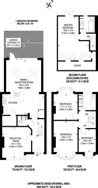 Large floorplan for Woodlands, Raynes Park, SW20
