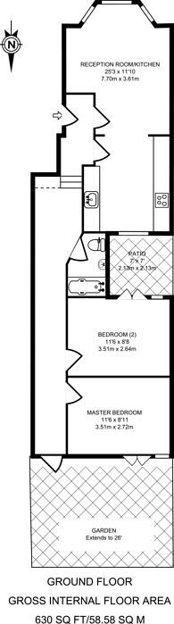 Large floorplan for Disraeli Road, Putney, SW15