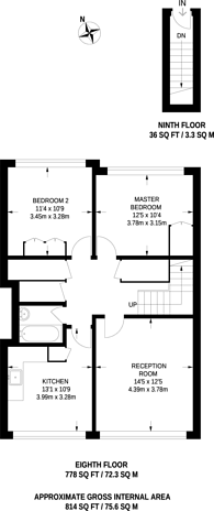 Large floorplan for Sidney Street, Tower Hamlets, E1