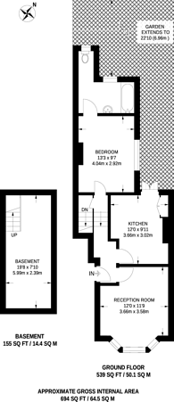 Large floorplan for Kay Road, Clapham North, SW9