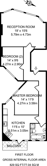 Large floorplan for Muswell Hill Broadway, Muswell Hill, N10