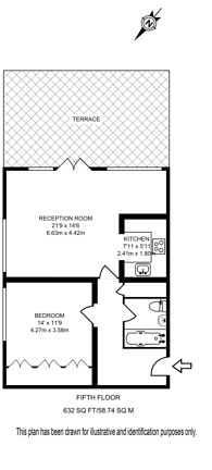 Large floorplan for Beaux Arts Building, Holloway, N7