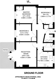 Large floorplan for St Charles Square, North Kensington, W10