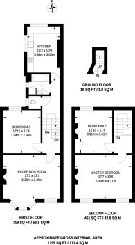 Large floorplan for Messina Avenue, West Hampstead, NW6