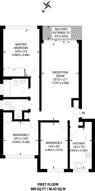 Large floorplan for Lakeview Court, Wimbledon Park, SW19