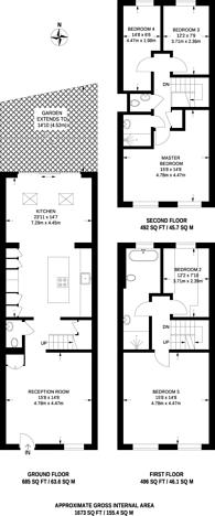 Large floorplan for Egliston Mews, West Putney, SW15