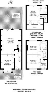 Large floorplan for Woodgrange Avenue, North Finchley, N12