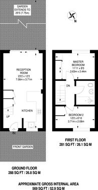 Large floorplan for College Gardens, Earlsfield, SW17