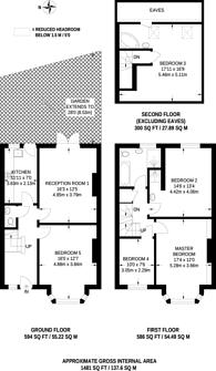 Large floorplan for Kings Avenue, Clapham North, SW4