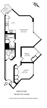 Large floorplan for Ashburnham Tower, Chelsea, SW10