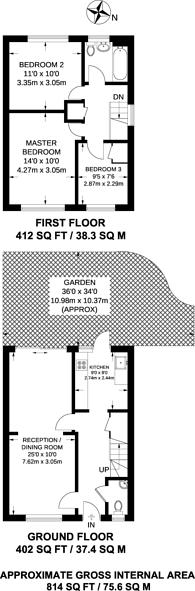 Large floorplan for Shaw Road, East Dulwich, SE22