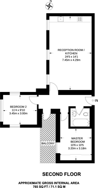 Large floorplan for St Giles Road, Camberwell, SE5