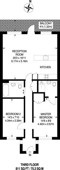 Large floorplan for Rothsay Street, London Bridge, SE1