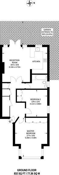 Large floorplan for Cresswell Road, Twickenham, TW1
