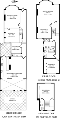 Large floorplan for Redston Road, Crouch End, N8