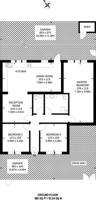 Large floorplan for Lenelby Road, Tolworth, KT6