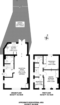 Large floorplan for Elmshaw Rd, Putney, SW15