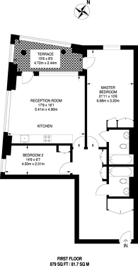 Large floorplan for Wharfside Point South, Poplar, E14