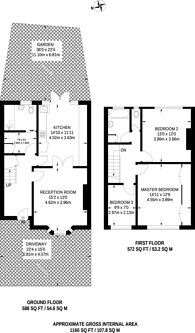 Large floorplan for Strathbrook Road, Streatham Common, SW16