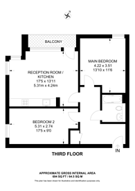 Large floorplan for Cobalt Point, Canary Wharf, E14