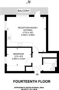 Large floorplan for Streamlight Tower, Canary Wharf, E14