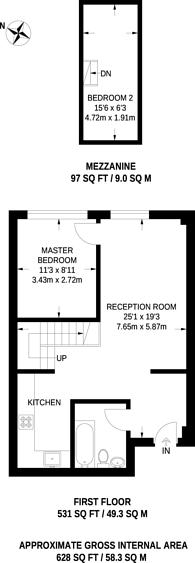 Large floorplan for King Edwards Road, London Fields, E9