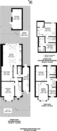 Large floorplan for The Glade, Stoneleigh, KT17
