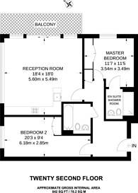 Large floorplan for Landmark Tower, Canary Wharf, E14