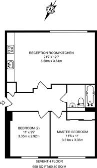 Large floorplan for Nova Court West, Canary Wharf, E14